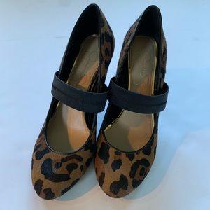 Jessica Simpson leopard print calf hair heels